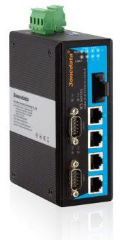 5 ports 10/100Base-T(X), 1 Fiber MM + 2 RS232 porter